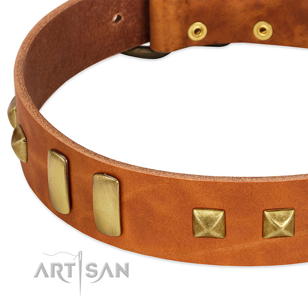 Flexible natural leather dog collar with decorations for handy use