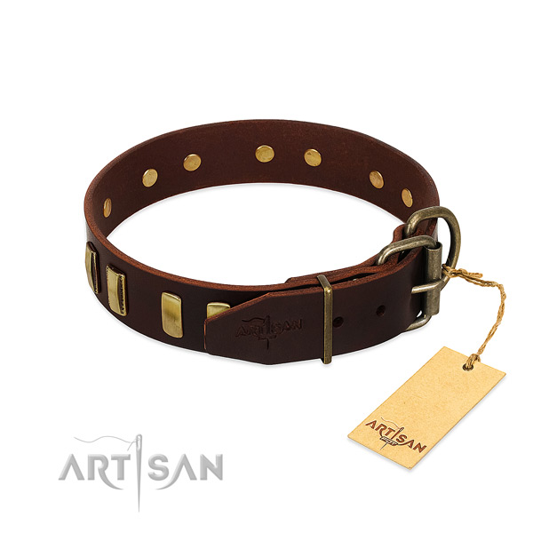 Natural leather dog collar with rust resistant D-ring for fancy walking