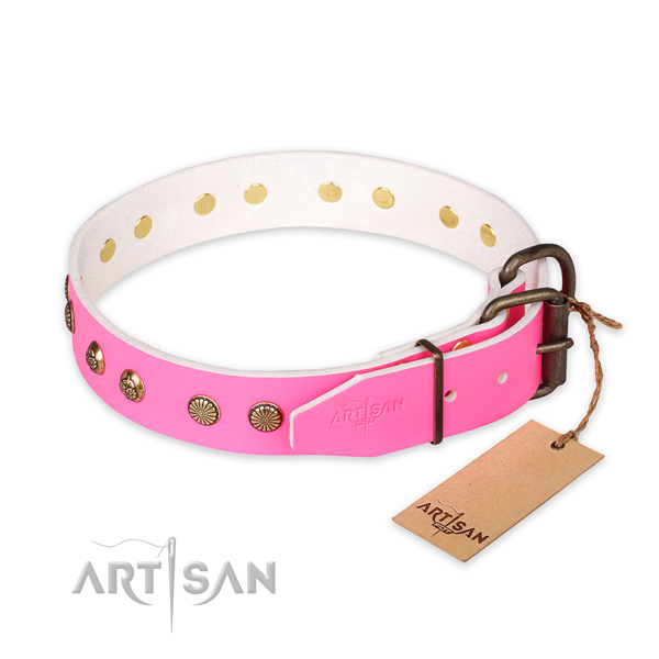 Corrosion resistant hardware on genuine leather collar for your attractive canine
