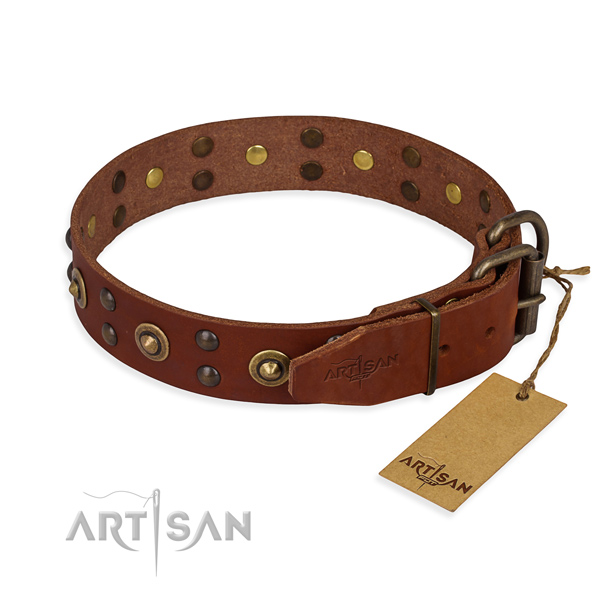Rust resistant buckle on genuine leather collar for your handsome dog
