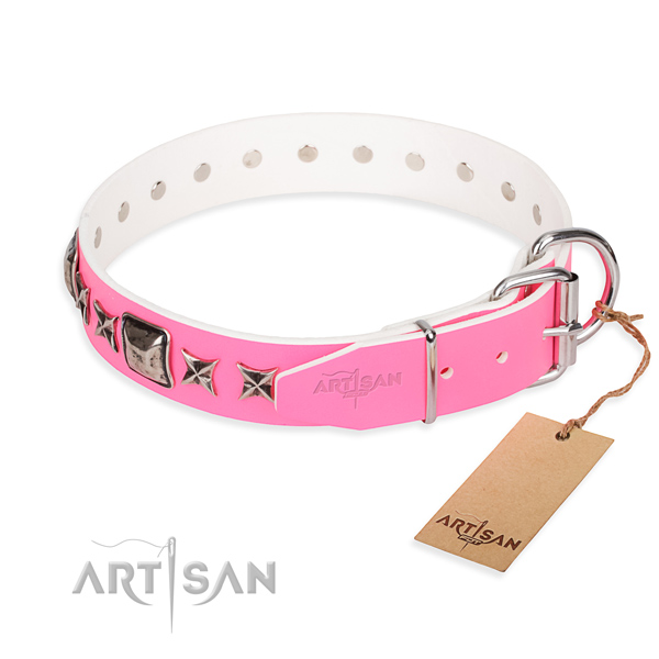 Finest quality embellished dog collar of full grain natural leather