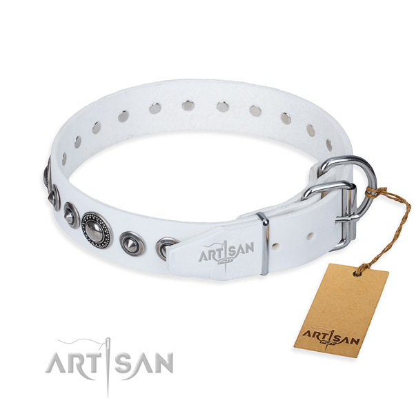 Full grain genuine leather dog collar made of high quality material with durable embellishments