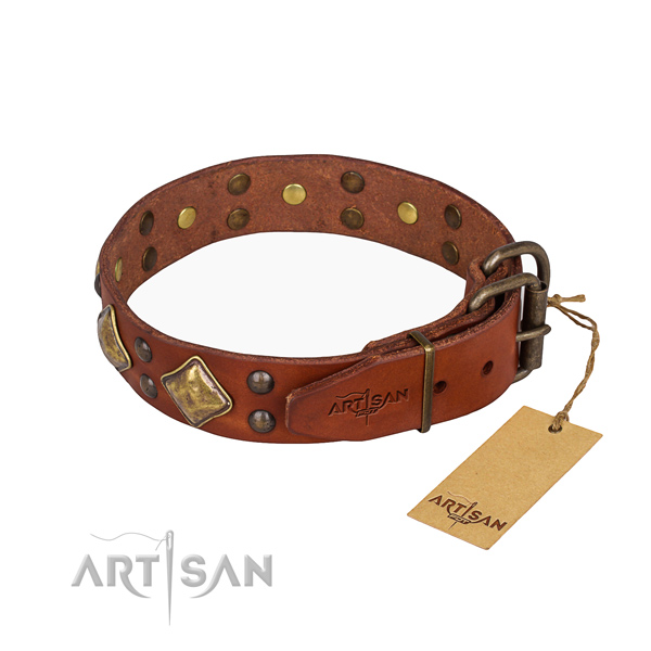 Genuine leather dog collar with extraordinary reliable decorations