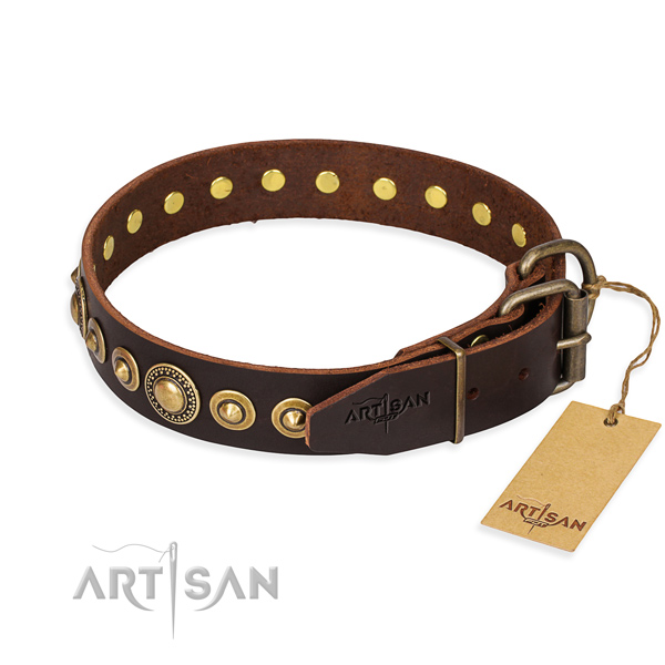 Top rate natural genuine leather dog collar created for fancy walking