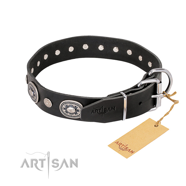 Flexible full grain leather dog collar crafted for comfy wearing