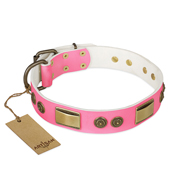 """Sunrise Glow"" FDT Artisan Pink Leather Cane Corso Collar with Old Bronze Look Plates and Round Studs"