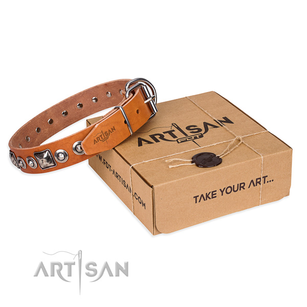 Natural genuine leather dog collar made of top notch material with rust resistant D-ring