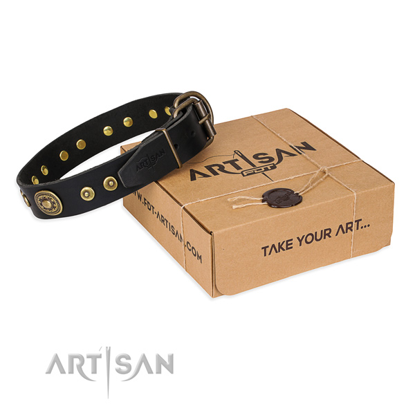 Genuine leather dog collar made of reliable material with corrosion resistant hardware