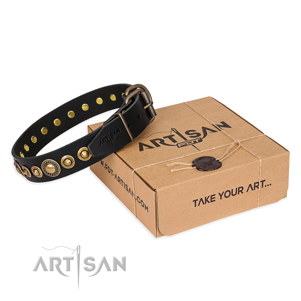 Soft full grain leather dog collar crafted for everyday use