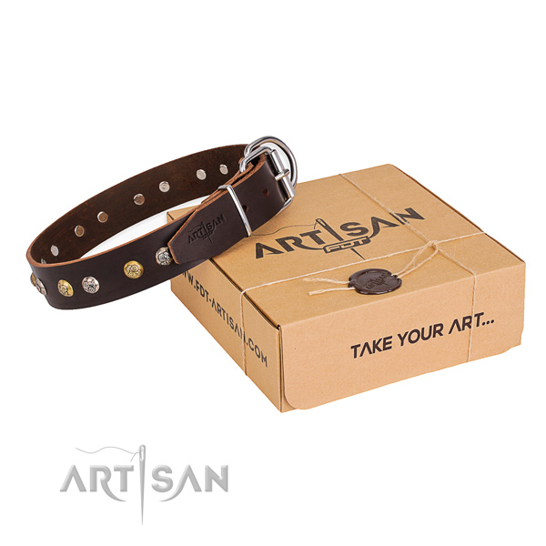 Soft leather dog collar handmade for daily walking