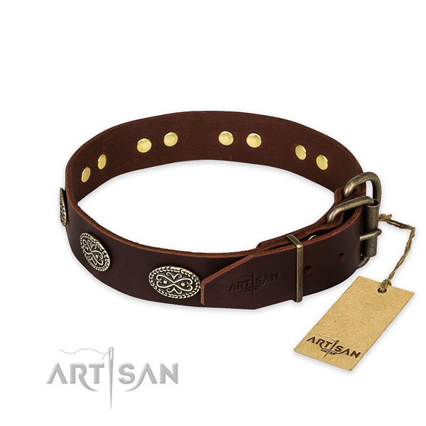 Rust-proof fittings on natural genuine leather collar for your impressive pet