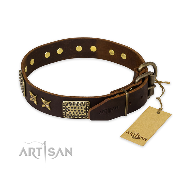 Rust-proof buckle on full grain leather collar for your handsome dog