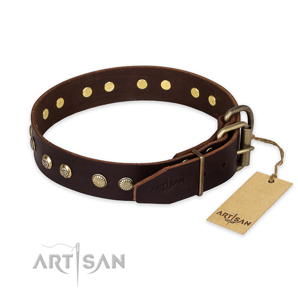 Corrosion proof buckle on full grain natural leather collar for your impressive pet