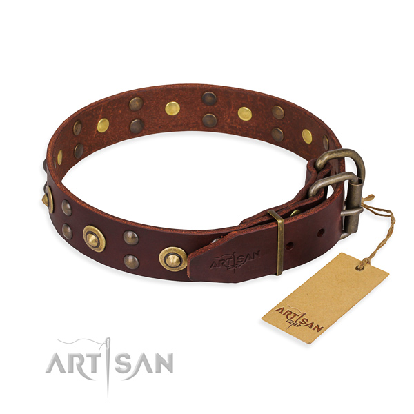 Reliable traditional buckle on full grain genuine leather collar for your handsome pet