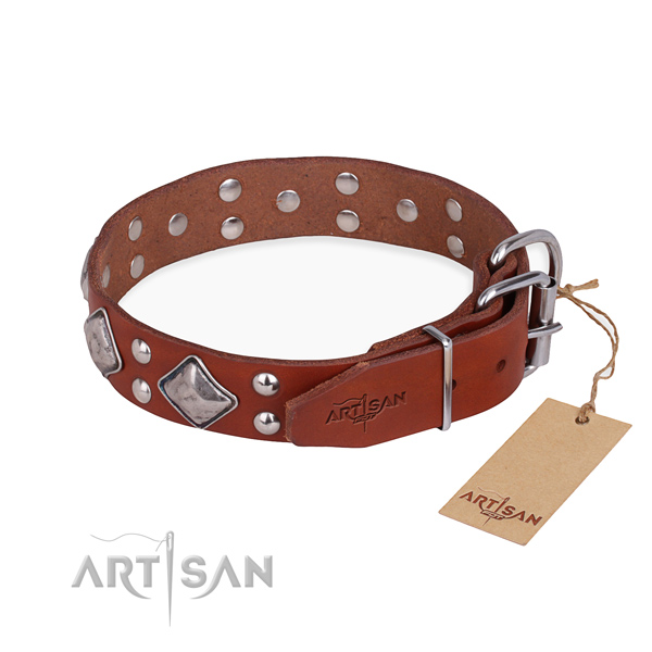 Full grain genuine leather dog collar with unique rust-proof embellishments
