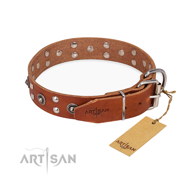 Rust resistant buckle on full grain genuine leather collar for your impressive dog