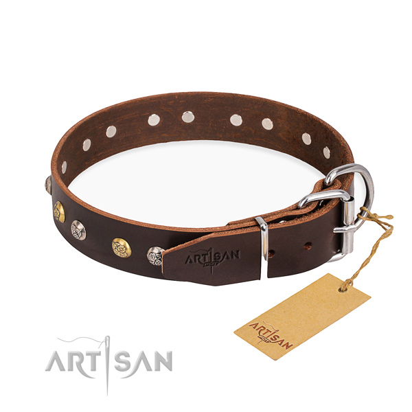 Strong full grain natural leather dog collar handmade for handy use