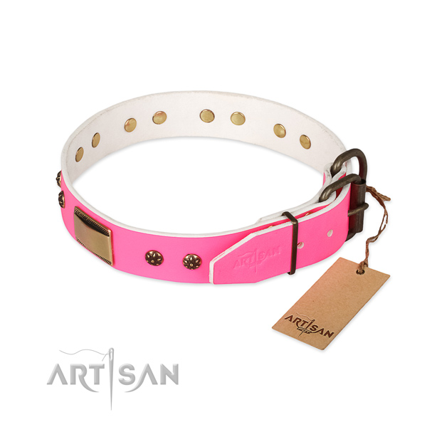 Corrosion proof hardware on natural genuine leather dog collar for your doggie