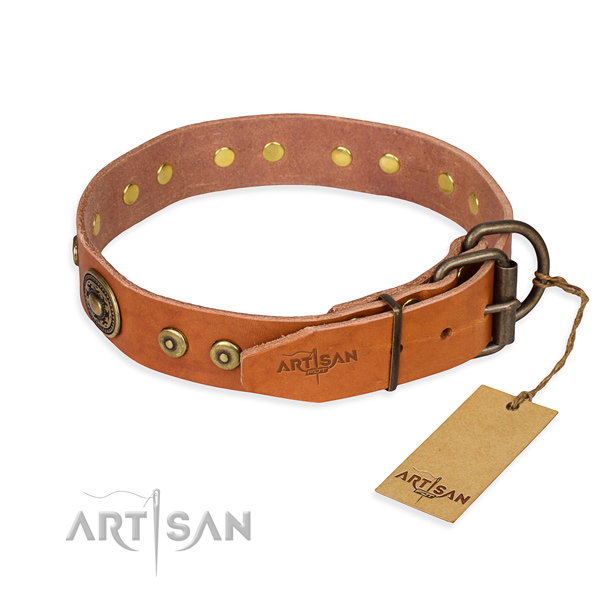 Genuine leather dog collar made of flexible material with strong decorations