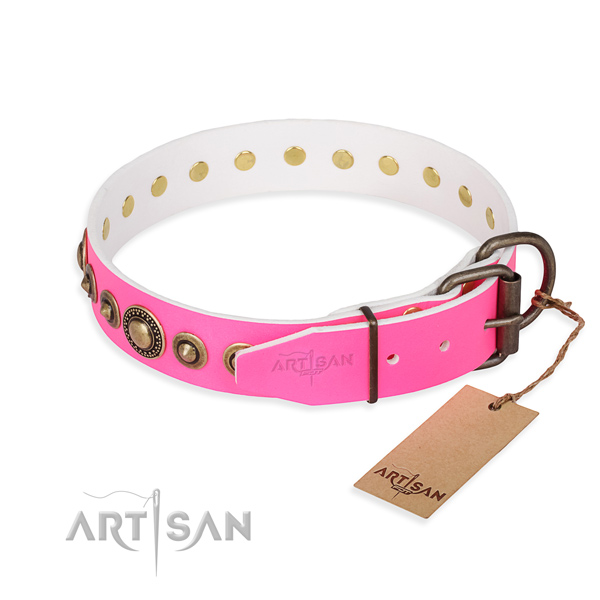 Quality full grain natural leather dog collar handmade for comfy wearing