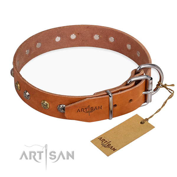 Genuine leather dog collar with top notch rust resistant embellishments