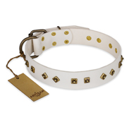 """Snow Cloud"" FDT Artisan White Leather Cane Corso Collar with Square and Rhomb Studs"