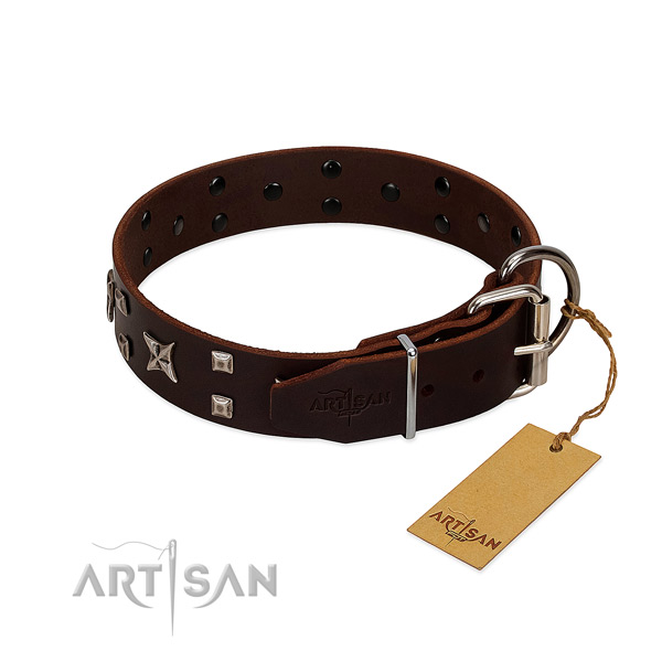 Top notch full grain leather collar crafted for your doggie
