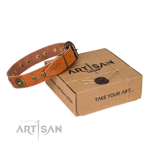 Leather dog collar made of flexible material with reliable D-ring