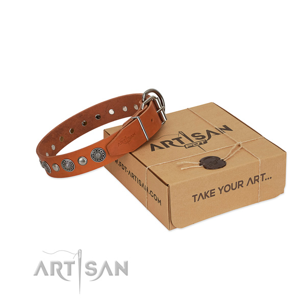 Durable natural leather dog collar with inimitable decorations