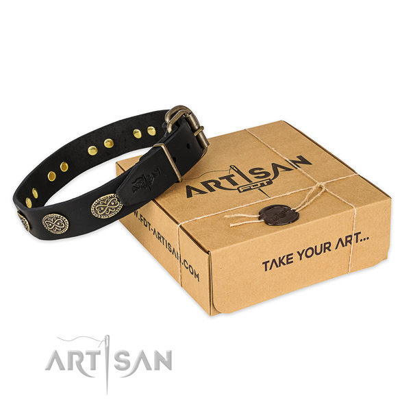 Corrosion proof D-ring on full grain genuine leather collar for your beautiful canine