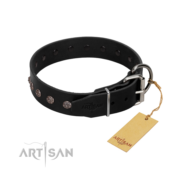 Soft to touch full grain genuine leather dog collar with adornments for easy wearing