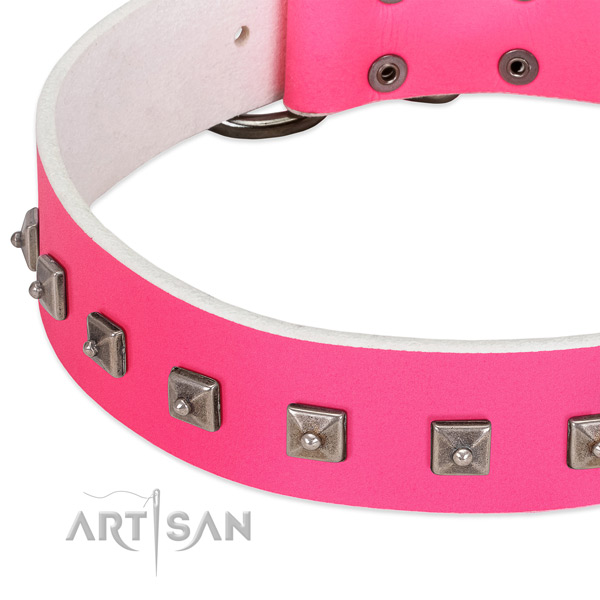 High quality full grain natural leather dog collar with stylish design decorations