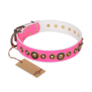 """Pink Gloss"" FDT Artisan Leather Cane Corso Collar with Old-Bronze Plated Circles and Studs"
