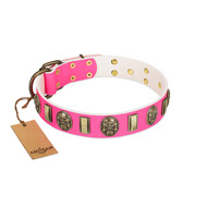 """Perilous Beauty"" Pink FDT Artisan Leather Cane Corso Collar with Small Plates and Skulls"