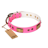 """Pink Daydream"" FDT Artisan Pink Leather Cane Corso Collar with Old Bronze Look Plates and Studs"