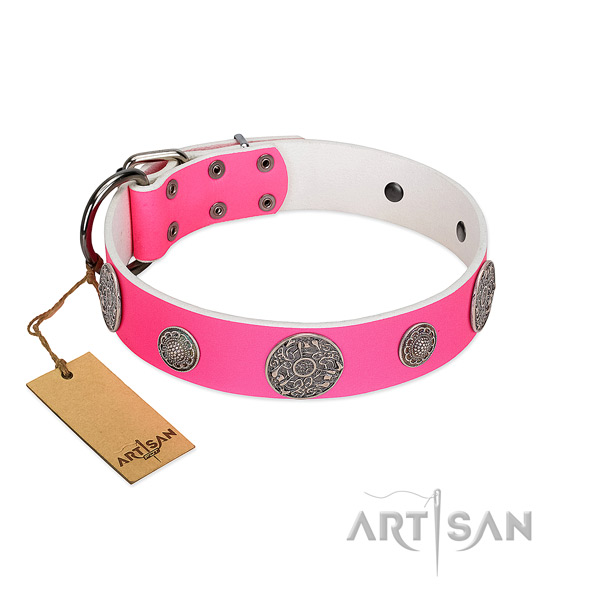 Exceptional embellished natural leather dog collar
