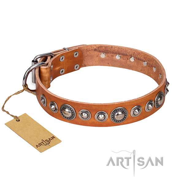 Leather dog collar made of flexible material with rust-proof buckle