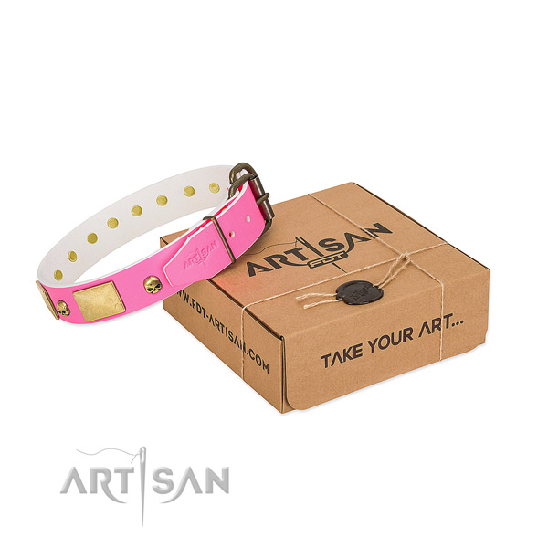 Soft to touch full grain genuine leather collar with corrosion proof adornments for your doggie