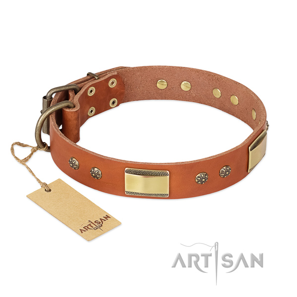 Convenient natural genuine leather collar for your dog