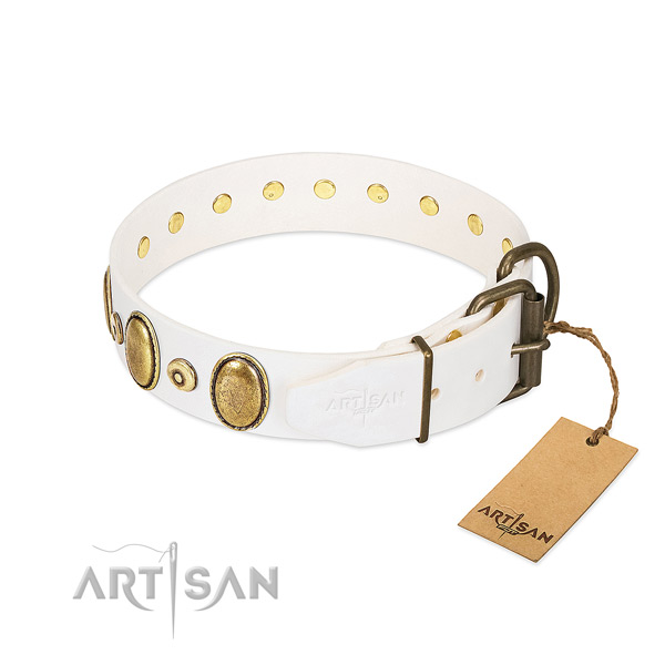 Durable full grain leather collar handcrafted for your four-legged friend