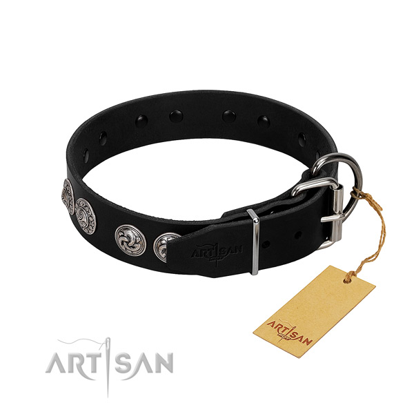 Extraordinary full grain genuine leather collar for your four-legged friend walking