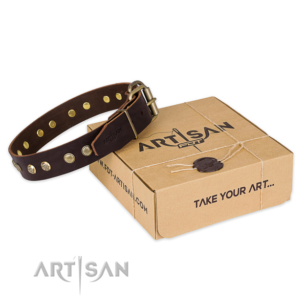 Corrosion resistant buckle on natural genuine leather collar for your impressive pet