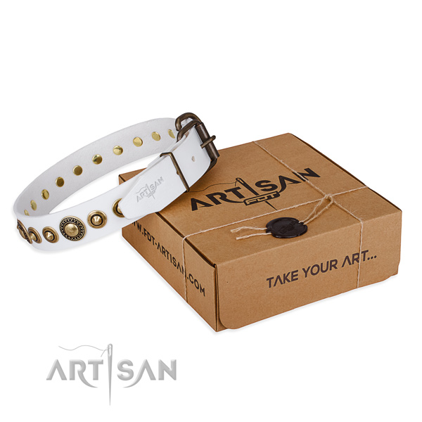 Reliable natural genuine leather dog collar handcrafted for comfy wearing