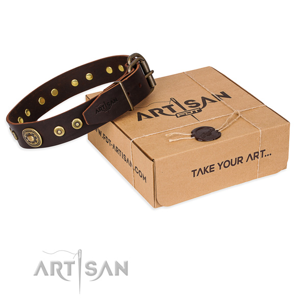Full grain natural leather dog collar made of top notch material with corrosion proof hardware