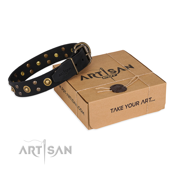 Strong fittings on full grain genuine leather collar for your stylish dog