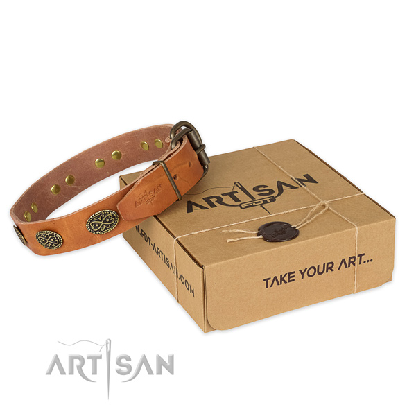 Durable hardware on full grain genuine leather collar for your beautiful pet