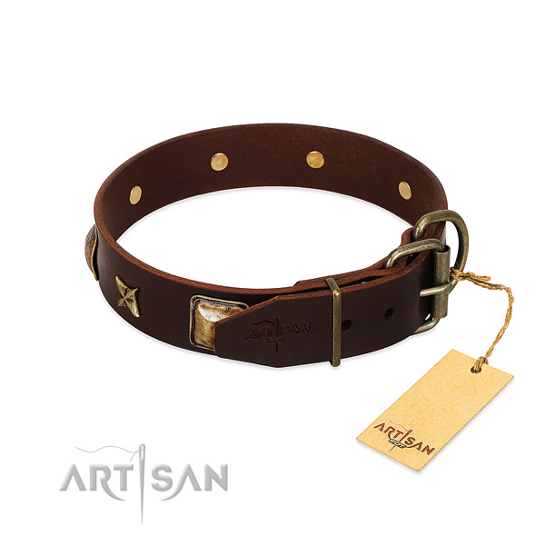 Full grain genuine leather dog collar with corrosion resistant hardware and decorations