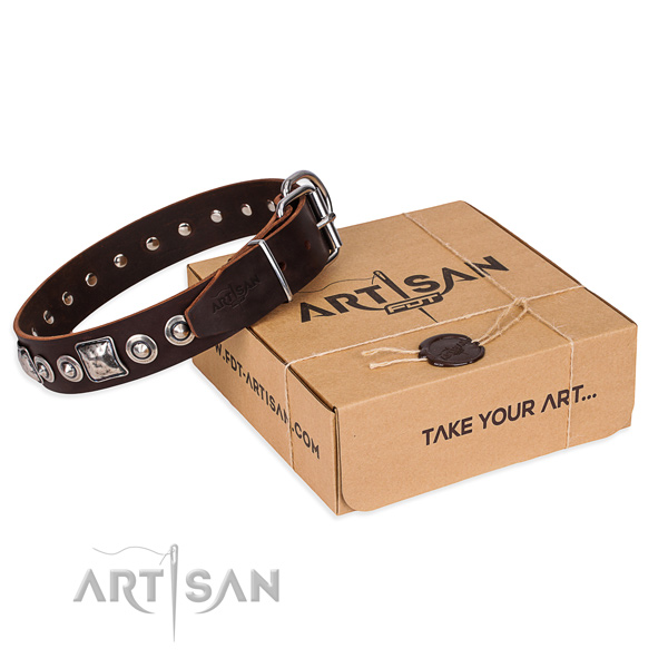 Natural genuine leather dog collar made of top notch material with corrosion resistant fittings