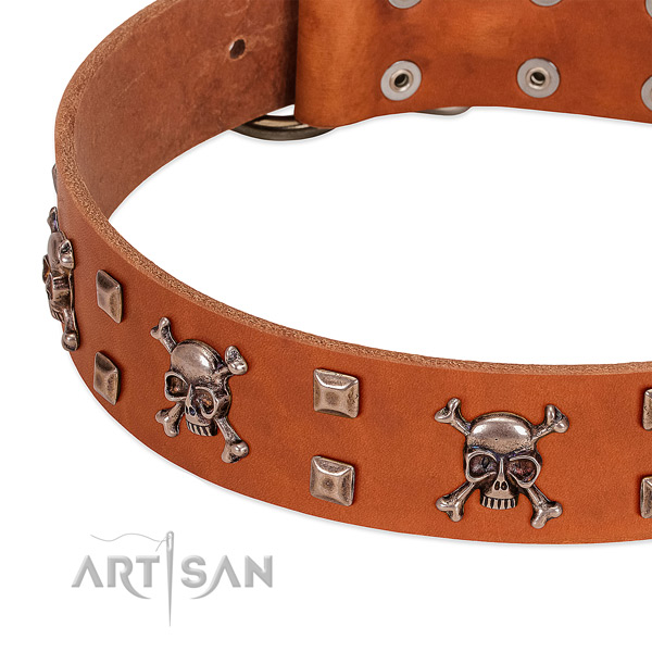Stylish design full grain leather collar for your dog