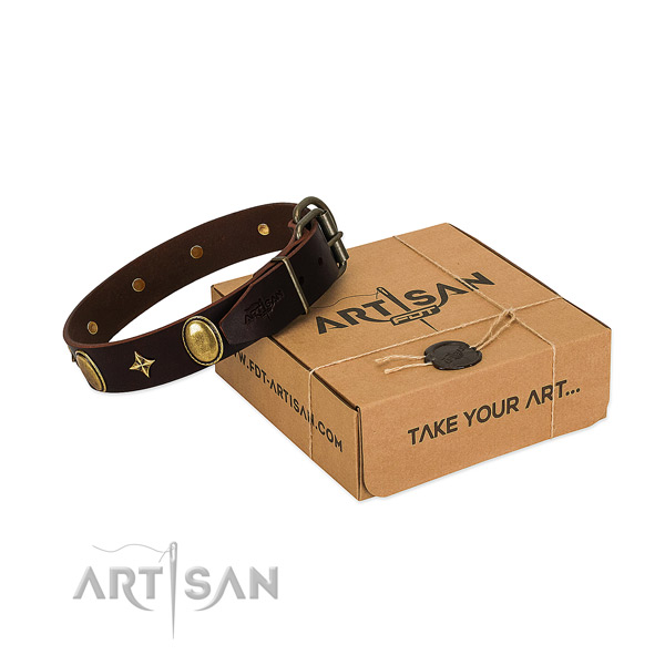 Gentle to touch full grain genuine leather dog collar with incredible studs